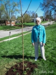 Katie and her new bur oak