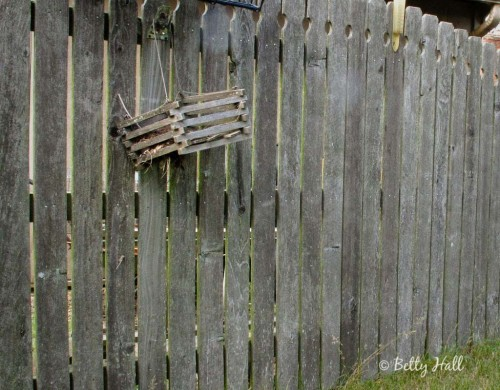 wooden container hanging on fence
